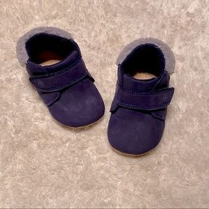 Baby Booties - Blue with Faux Fur
